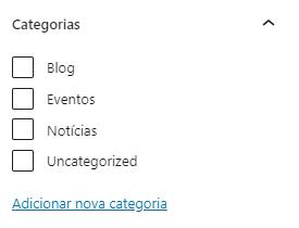 Seletor de categorias do artigo