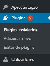 Área de plugins da administração wordpress lado esquerdo